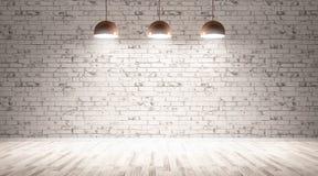 Três lâmpadas sobre a rendição da parede de tijolo 3d Foto de Stock