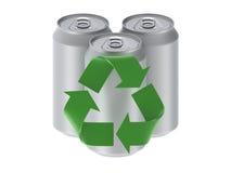 Três latas isoladas em um fundo branco com rec Ilustração do Vetor