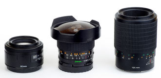 Três lentes Imagens de Stock