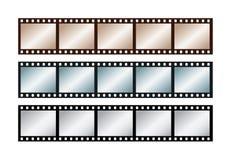 Três listras do vintage de cinco quadros do filme de 35 milímetros fotografia de stock
