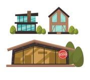 Três lojas elegantes com o cartaz colorido das janelas francesas ilustração royalty free