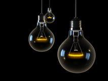 Três luzes de incandescência no fundo preto Fotos de Stock Royalty Free
