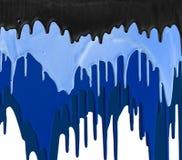 Três máscaras do gotejamento azul e preto das pinturas Foto de Stock Royalty Free