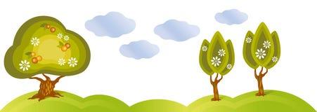 Três maçã-árvores e nuvens de florescência Fotografia de Stock Royalty Free