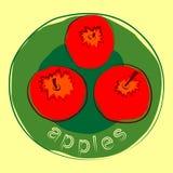 Três maçãs suculentas saborosos Imagem de Stock