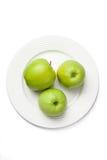 Três maçãs verdes Fotografia de Stock Royalty Free