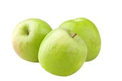 Três maçãs verdes Foto de Stock Royalty Free