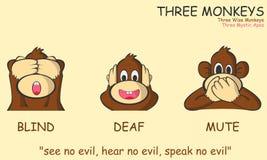 Três macacos Fotos de Stock Royalty Free