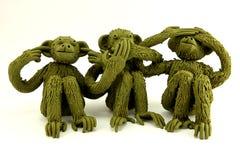 Três macacos de Wize Imagens de Stock Royalty Free