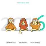 Três macacos sábios e inscrição 2016 de ano novo Fotos de Stock Royalty Free