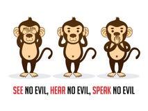 Três macacos VEEM PARA OUVIR-SE PARA FALAR ilustração royalty free
