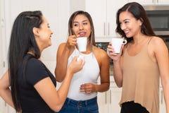 Três mamãs na cozinha foto de stock