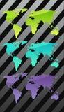 Três mapas de mundo Imagens de Stock Royalty Free