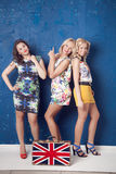 Três meninas alegres Fotos de Stock Royalty Free