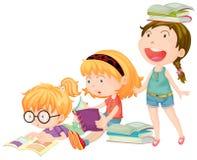 Três meninas apreciam livros de leitura ilustração do vetor