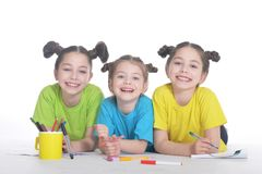Três meninas bonitos Fotos de Stock