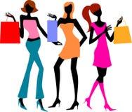 Três meninas de compra ilustração stock