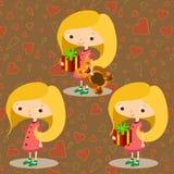 Três meninas de exploração agrícola felizes Imagem de Stock