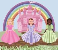 Três meninas ou princesas e castelos do conto de fadas Imagens de Stock