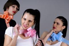 Três meninas que comemoram Foto de Stock Royalty Free