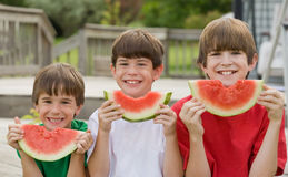 Três meninos que comem a melancia Fotos de Stock Royalty Free