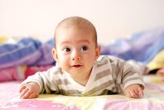 Três meses de sorriso velho do bebê Fotos de Stock