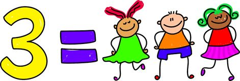 Três miúdos ilustração royalty free
