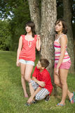 Três miúdos fotografia de stock royalty free