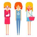 Três moças felizes no vestido, calças de brim, parte superior e Fotos de Stock