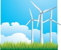 Três moinhos de vento Fotografia de Stock