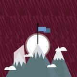 Três montanhas com neve vão acima além das nuvens pequenas Um tem a bandeira colorida vazia que está no pico creativo ilustração stock