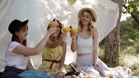 Três mulheres atrativas que comemoram Cocktail alaranjados bebendo dos copos de vinho Assento e sorriso cheers Piquenique ou filme
