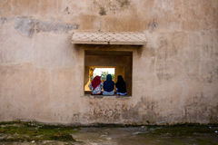 Três mulheres de Moeslim que sentam enfrentar para trás Foto de Stock Royalty Free