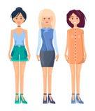 Três mulheres de Vogue isoladas no fundo branco ilustração royalty free