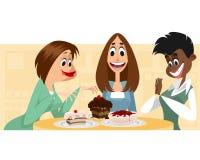 Três mulheres e sobremesas Fotos de Stock