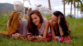 Três mulheres estão comprando em linha durante o piquenique no campo vídeos de arquivo