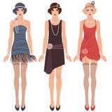Três mulheres novas do flapper dos anos 20 ilustração do vetor