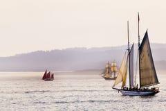Três navios de navigação altos fotografia de stock