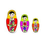 Três ninho-bonecas brilhantes Imagem de Stock