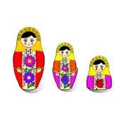 Três ninho-bonecas brilhantes Imagem de Stock Royalty Free