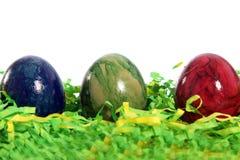 Três ovos da páscoa modelados mármore fotos de stock