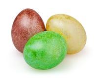 Três ovos de Easter isolados no fundo branco Fotos de Stock
