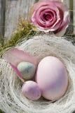 Três ovos de easter no pastel com levantaram-se Foto de Stock