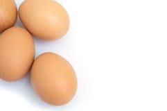 Três ovos isolados no espaço branco do fundo e da cópia Fotos de Stock Royalty Free