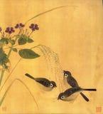 Três pássaros bonitos estão procurando o alimento ilustração royalty free