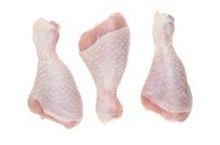 Três pés de galinha crus isolados no fundo branco fotografia de stock
