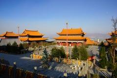Três pagodes budistas na cidade velha de Dali, província de Yunnan, China Imagens de Stock