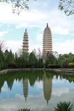 Três pagodes em Dali, China Fotos de Stock