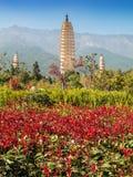 Três pagodes em Dali, China Imagem de Stock Royalty Free