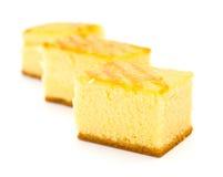 Três partes de bolos de esponja Fotos de Stock Royalty Free